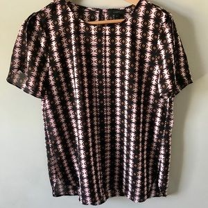 J CREW PRINTED BLOUSE SIZE 10